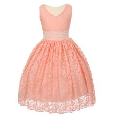 Little Girls Peach Heavy Spandex Lace Pearl Accented Flower Girl Dress 4