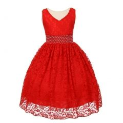 Little Girls Red Heavy Spandex Lace Pearl Accented Flower Girl Dress 2-6