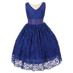 Little Girls Royal Blue Spandex Lace Pearl Accented Flower Girl Dress 2-6