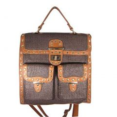 Aryana Junior Womens Brown Top Flap Shira Convertible Tote Backpack