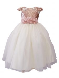 Sinai Kids Little Girls Ivory Champagne Sequin Tulle Flower Girl Dress 2-6