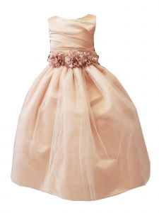 Sinai Kids Little Girls Peach Floral Belt Adorned Pleated Flower Girl Dress 2-6