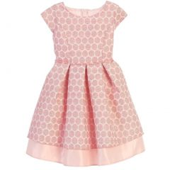Sweet Kids Big Girls Coral Polka Dot Pleated Jacquard Satin Easter Dress 7-12