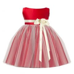 Sweet Kids Baby Girls Red Ivory Floral Accent Flower Girl Dress 6-24M