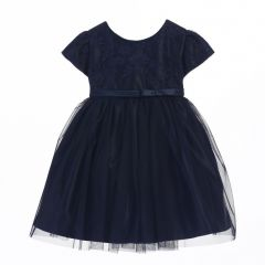 Sweet Kids Baby Girls Navy Lace Sleeve Ballerina Christmas dress 6-24M