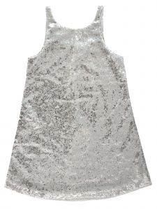 Sophie Catalou Big Girls Silver Angelina Sequin Party Dress 8-10