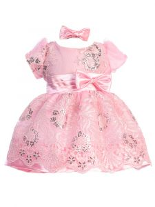 Baby Girls Multi Color Sequin Floral Lace Bow Headband Flower Girl Dress 3-24M
