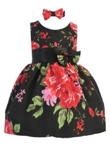 Shanil Baby Girls Black Red Floral Print Bow Headband Easter Dress 3-24M