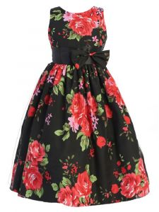 Shanil Little Girls Black Red Floral Print Bow Easter Dress 2-6
