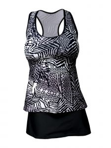 Deep Blue Women Black Gray Tribal Print Skirted 2 Pc Tankini Swimsuit 8-16