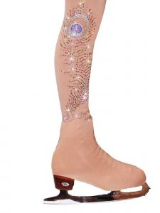 Ice Fire Skating Girls Nude Over The Boot Rhinestone Feather Tights 4-14