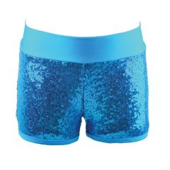 Reflectionz Big Girls Turquoise Sequin Shorts 8-10