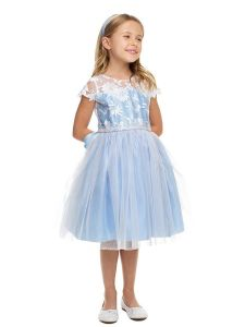 Sweet Kids Girls Multi Color Embroidered Lace Crystal Tulle Easter Dress 2-12