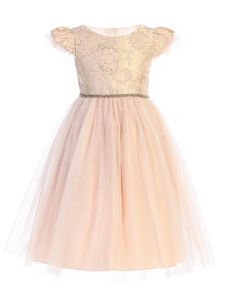 Sweet Kids Girls Multi Color Floral Jacquard Crystal Tulle Easter Dress 2-12