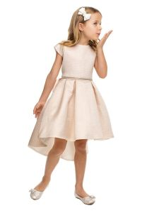 Sweet Kids Girls Multi Color Jacquard High-Low Cocktail Easter Dress 2-16