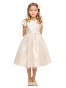 Sweet Kids Girls Multi Color Sequin Lace Pearl Flower Girl Dress 2-12