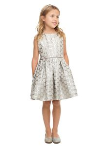 Sweet Kids Girls Multi Color Polka Dot Pockets Jacquard Easter Dress 2-16