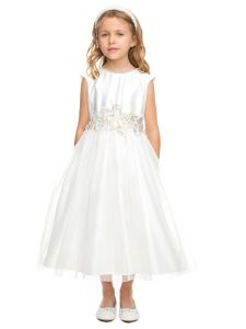 Sweet Kids Girls Multi Color Pearl Neck Lace Patch Flower Girl Dress 2-16