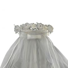"Girls White Organza Flowers Pearls Headpiece 24"" Communion Flower Girl Veil"