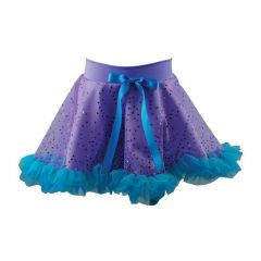 Reflectionz Little Girls Purple Aqua Glitter Bow Ruffled Mermaid Skirt 2-6