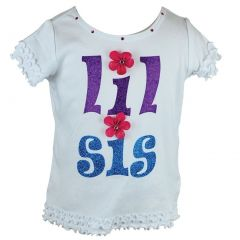 "Reflectionz Little Girls White Floral Applique ""Lil Sis"" Ruffle Cotton Top 2T-8"