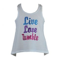 """Reflectionz Big Girls White Colorful """"Live Love Tumble"""" Tank Top 8-10"""