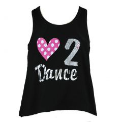 Reflectionz Little Girls Black Pink White Dotted Love To Dance Tank Top 2T-6X