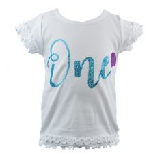 Reflectionz Baby Girls White Turquoise Cursive Number Birthday T-Shirt 12M