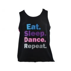 Reflectionz Big Girls Black Dance Inspired Print Cotton Tank Top 8-12