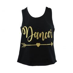 "Reflectionz Little Girls Black Gold Glitter ""Dance"" Arrow Cotton Tank Top 2-6"
