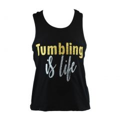 "Reflectionz Big Girls Black Gold Silver ""Tumbling Is Life"" Tank Top 8-12"