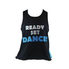 "Reflectionz Little Girls Black Glitter ""Ready Set Dance"" Cotton Tank Top 2-6"