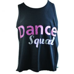"Reflectionz Little Girls Black Silver Pink Glitter ""Dance Squad"" Tank Top 2-6"