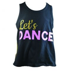 "Reflectionz Little Girls Black Gold Pink Glitter ""Let's Dance"" Tank Top 2-6"