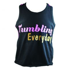 "Reflectionz Big Girls Black Glitter Hot Pink ""Tumbling Everyday"" Tank Top 8-12"