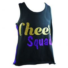Reflectionz Big Girls Black Purple Cheer Squad Racer Back Tank Top 8-12