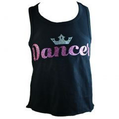 "Reflectionz Big Girls Black Silver Glitter ""Dancer"" Crown Trendy Tank Top 8-12"