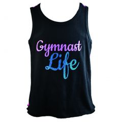 "Reflectionz Big Girl Black Hot Pink Blue Glitter ""Gymnast Life"" Tank Top 8-12"