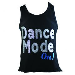 "Reflectionz Little Girls Black Turquoise Glitter ""Dance Mode On"" Tank Top 2-6"