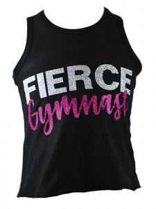 "Reflectionz Little Girls Black Silver Glitter ""Fierce Gymnast"" Tank Top 4-6"