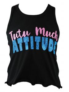 "Reflectionz Big Girls Black Hot Pink ""Tutu Much Attitude"" Tank Top 8-12"