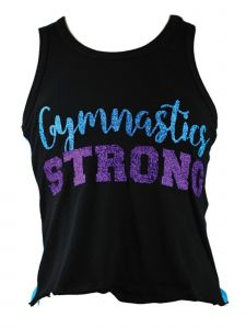 "Reflectionz Big Girls Black Turquoise ""Gymnastics Strong"" Tank Top 8-12"