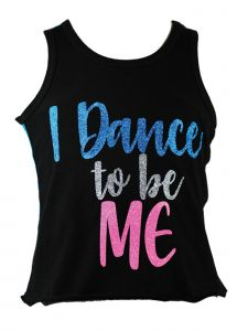 """Reflectionz Little Girls Black Turquoise """"I Dance To Be Me"""" Tank Top 4-6"""