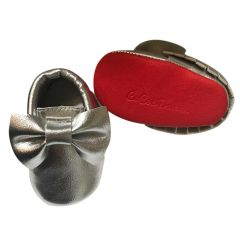 Baby Girls Silver Red Tassel Bow Soft Sole Faux Leather Crib Shoes 3-18M
