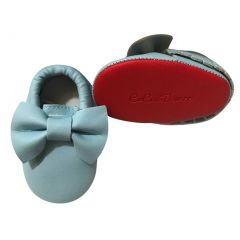 Baby Girls Sky Blue Red Tassel Bow Soft Sole Faux Leather Crib Shoes 3-18M