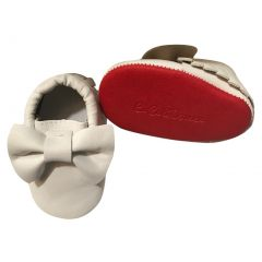 Baby Girls White Red Tassel Bow Soft Sole Faux Leather Crib Shoes 3-18M