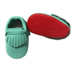 Baby Girls Aqua Red Soft Sole Faux Leather Tassel Moccasin Crib Shoes 3-18M