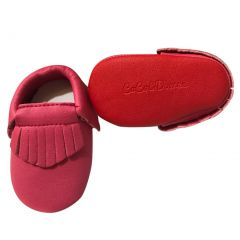 Baby Girls Hot Pink Red Soft Sole Faux Leather Tassel Moccasin Crib Shoes 3-18M