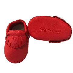 Baby Girls Red Soft Sole Faux Leather Tassel Moccasin Crib Shoes 3-18M