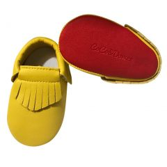 Baby Girls Yellow Red Soft Sole Faux Leather Tassel Moccasin Crib Shoes 3-18M